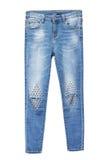 Jeans femelles minces de denim d'isolement Photo stock