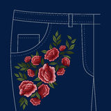 Jeans Folks Floral Embroidery Pattern Stock Image