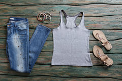 Jeans and gray tank top. Royalty Free Stock Photo