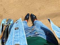 Denim. Jeans handbag jacket boots Stock Photos
