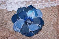 Jeans handmade flower Stock Image
