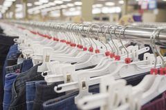 Jeans on a hanger Stock Photo