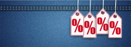 Jeans Header Price Stickers Sale Percents Stock Image