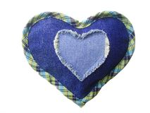 Jeans heart. Blue jeans pocket in the form of heart. Isolated over white Stock Images