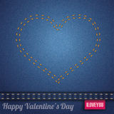 Jeans Heart Double-Stitched Seam Pink Stock Images