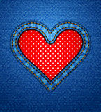Jeans heart frame with polka dots Stock Photography