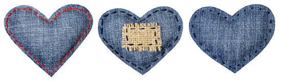 Jeans Heart Shape Patch Object Stitches Seam, Valentines Day Stock Photos