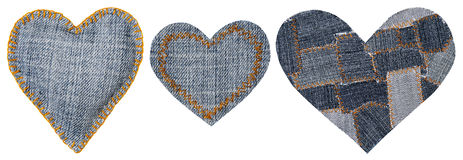 Jeans Heart Shape Patch Object Stitches Seam, Valentines Day Royalty Free Stock Photography