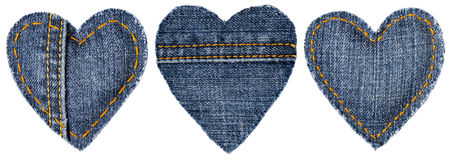 Jeans Heart Shape Patch Object Stitches Seam, Valentines Day. Jeans Heart Shape Patch Object with Stitches Seam, Decorative Fabric Joint Isolated White stock images