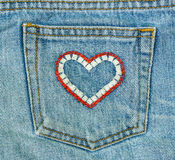 Jeans and heart shape pocket Royalty Free Stock Photo