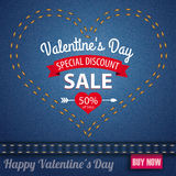 Jeans Heart Valentines Day Sale Pink Label Stock Photos