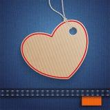 Jeans-Herz-Karton-Preis-Aufkleber-Orange Stockfotos