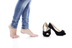 Jeans and high heels Stock Images