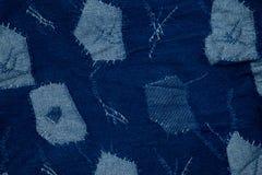 Jeans Hintergrund, Denimpatchwork Stockfotos