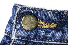 Jeans hook button for waist. Button and jeans for wearing jeans on waist. Blue texture and metal button stock image