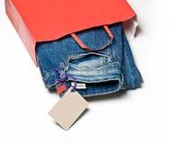 Jeans i påsen Arkivfoto