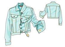 Jeans Jacket. Hand Drawn Illustration: Jeans jacket vs weather forecast Royalty Free Stock Images
