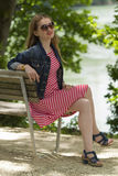 Jeans_Jacket_red_sunglasses-4 Royalty Free Stock Image