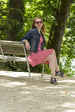 Jeans_Jacket_red_sunglasses-5 Stock Photo