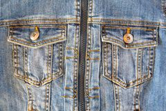 Jeans jacket with two pocket Royalty Free Stock Photo