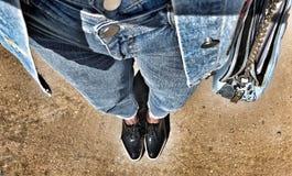 Jeans. Handbag jacket boots Royalty Free Stock Photo