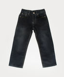 Jeans for kids or black color jeans on a background. Royalty Free Stock Images