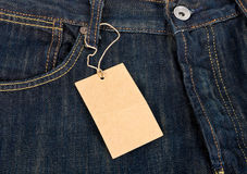 Jeans and label Royalty Free Stock Photos