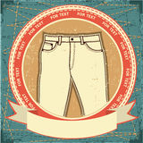 Jeans Label Set On Grunge Paper Stock Photography