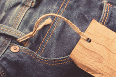 Jeans label on string Stock Image