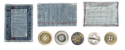 Jeans labels and buttons Royalty Free Stock Photos