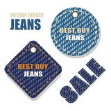 Jeans  labels. Jeans  labels with information about the sale Royalty Free Stock Photography