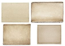 Jeans labels. Leather jeans labels, leather tags stock photos