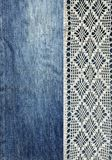 Jeans and lace. Background with denim and handmade lace. Vintage background with lace and denim fabric. Royalty Free Stock Image