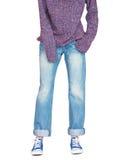Jeans larges droits de jambe et chandail ample Image stock