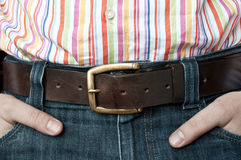 Jeans leather belt and shirt Royalty Free Stock Images