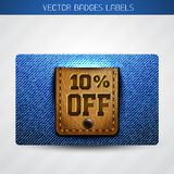 Jeans and leather dicount label Royalty Free Stock Photo
