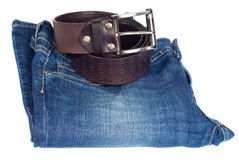 Jeans and leather strap. Royalty Free Stock Photo
