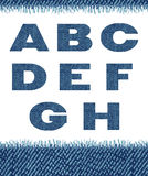 Jeans letters. (A-H). Royalty Free Stock Photo