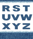 Jeans letters. (R-Z). Royalty Free Stock Images