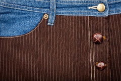 Jeans and lined brown fabric textures Stock Photo