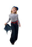 Jeans Little Funny Girl. Stock Photos