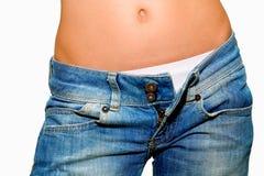 jeans lossade kvinnan Royaltyfri Bild