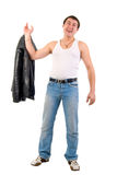 Jeans Macho Boy With Leather Jacket. Royalty Free Stock Photography