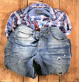 Jeans man material model old pants Royalty Free Stock Photo