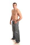 jeans man shirtless Arkivfoton