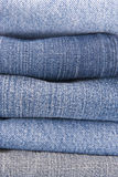Jeans material. Close up of few different type of jeans materials Royalty Free Stock Photo