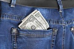 Jeans med den amerikanska dollaren Royaltyfria Foton