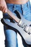 Jeans met gitaar Royalty-vrije Stock Afbeelding