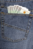 Jeans met Pools geld Stock Foto's