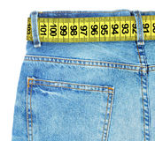 Jeans with meter belt slimming Royalty Free Stock Photography